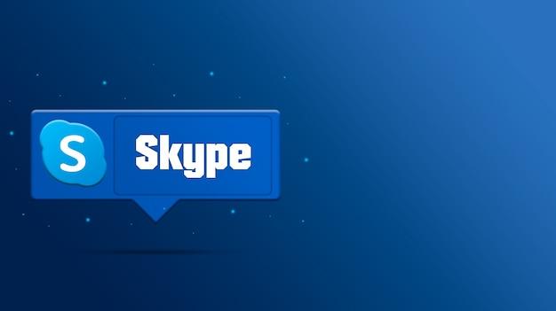 Skype-logo auf sprachblase 3d rendern Premium Fotos