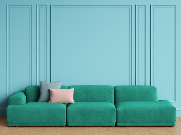 Smaragdgrünes sofa des modernen skandinavischen designs im innenraum. blaue wände mit zierleisten, parkettfischgrät. kopieren sie platz, wiedergabe 3d Premium Fotos