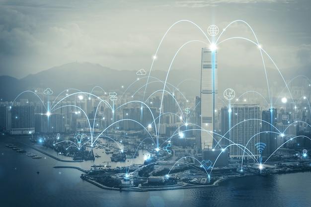 Smart city- und kommunikationsnetzkonzept. iot (internet der dinge). ikt (informationskommunikationsnetz). Premium Fotos