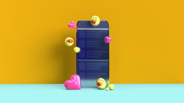Smartphone mit 3d-emojis Premium Fotos