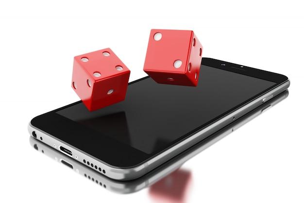 Smartphone mit würfeln Premium Fotos