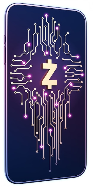 Smartphone mit zcash-symbol und platine auf dem bildschirm. das konzept des mobilen bergbaus und handels. Premium Fotos