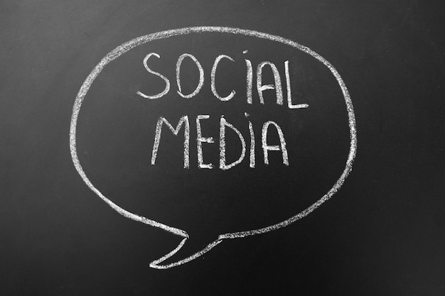 Social media - internet-vernetzung - text handgeschrieben mit weißer kreide auf einer tafel in der rede, minddialogue blase. Premium Fotos