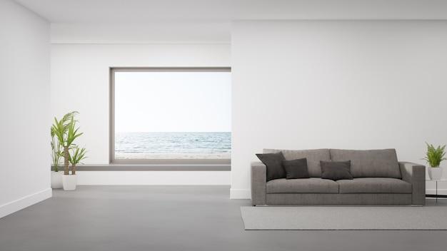 Sofa auf betonboden des großen wohnzimmers im modernen haus oder im luxushotel. Premium Fotos