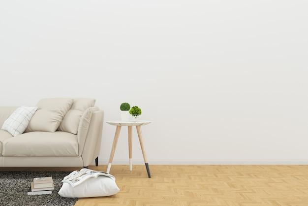 Sofa buch holzboden schreibtisch wohnzimmer klar hintergrund mock-up-vorlage Premium Fotos
