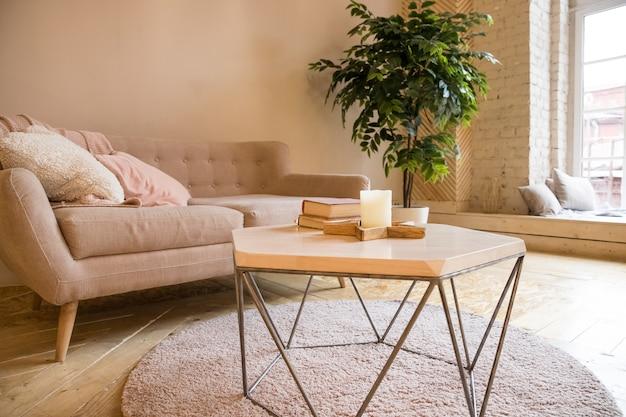 Sofa, couchtisch und pflanze im wohnzimmer im skandinavischen stil. Premium Fotos