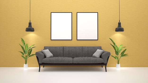 Sofa im wohnzimmer mit grüner pflanze und plakaten an der wand Premium Fotos