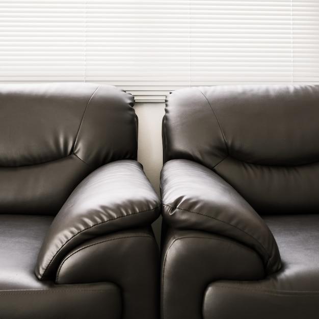 Sofa leder schwarze möbel im wohnzimmer Premium Fotos