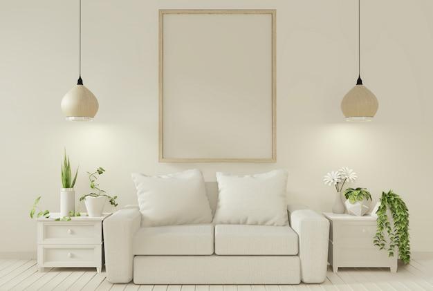 Sofa und dekorationspflanzen im wohnzimmer mit weißer wand. Premium Fotos