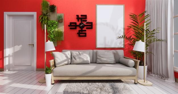 Sofa und rahmen in der korallenroten wohnzimmerzenart Premium Fotos