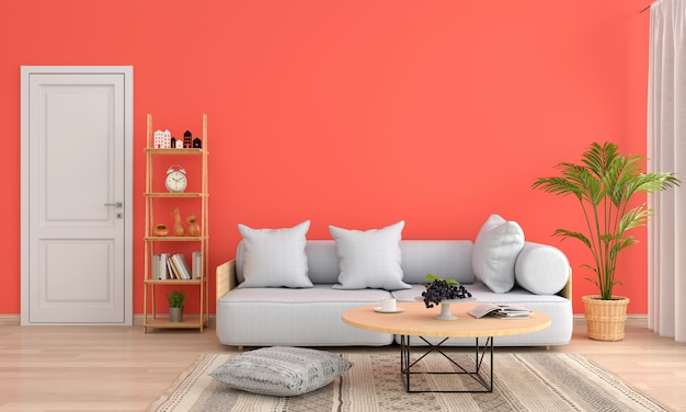 Sofa und tisch im orangefarbenen wohnzimmer | Download der ...
