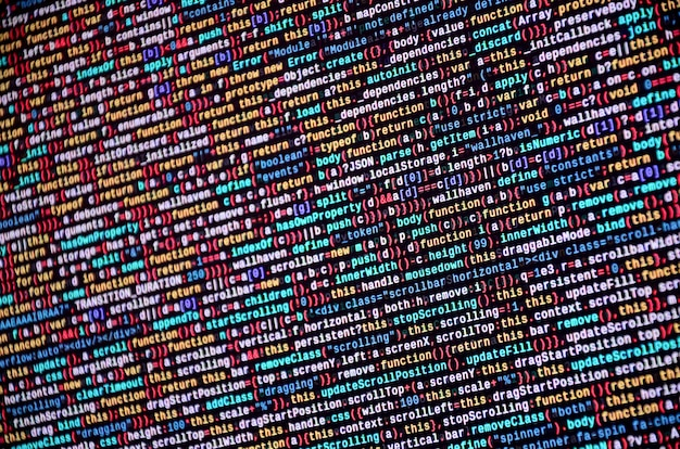 Softwareentwickler-programmcode auf dem computer. abstrakter computer-skript-quellcode Premium Fotos