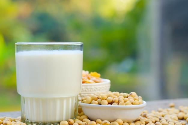 Sojamilch in glas auf dem tisch mit kopierraum. frühstückskonzept. sojabohnen trocknen auf dem tisch Premium Fotos