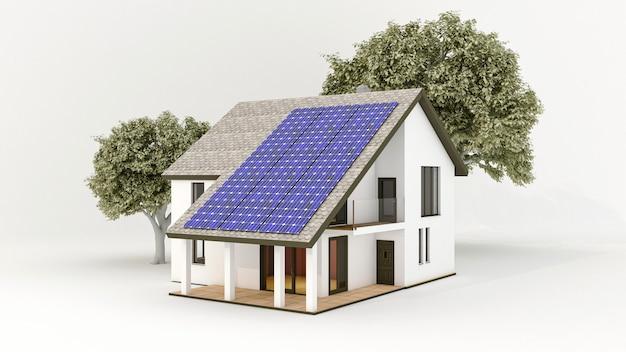 Solaranlage mit photovoltaik-solarmodulen auf dem dach des hauses Premium Fotos