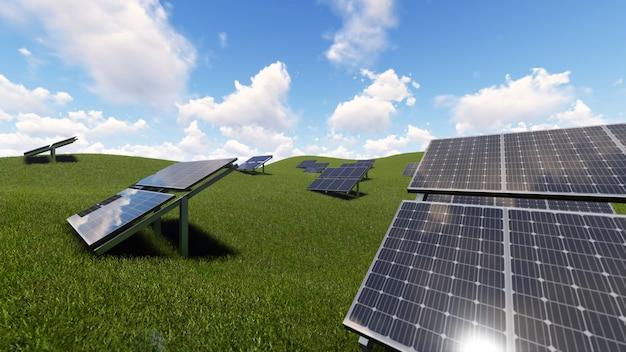 Solarzelle auf grünem gras Premium Fotos