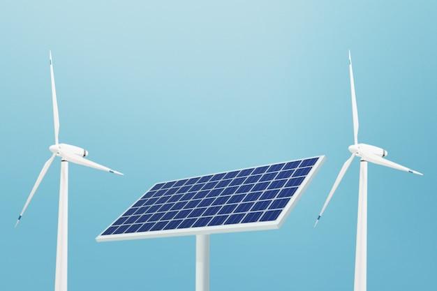 Solarzellen- und windkraftanlagen-energiepanel-technologie, 3d-illustration Premium Fotos