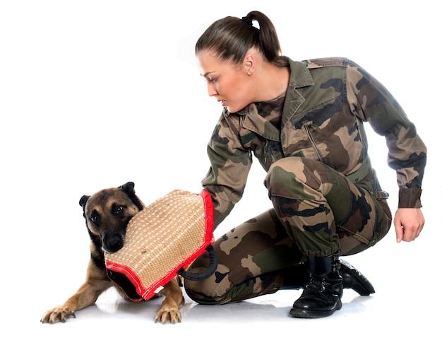 Soldatin und malinois Premium Fotos