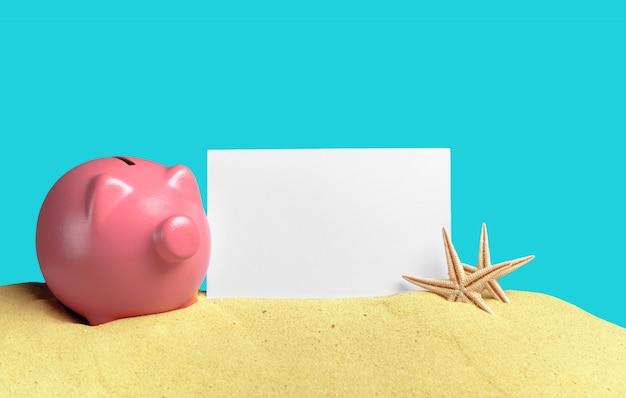Sommer sparschwein mit sonnenbrille am strand Premium Fotos