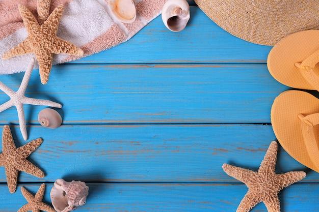 Sommer strand objekte rahmen Premium Fotos