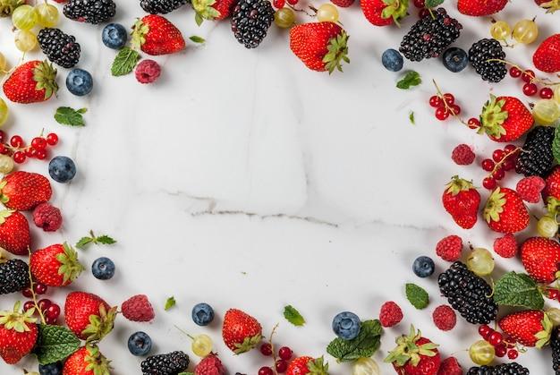 Sommerfrüchte und beeren. 6 arten von rohen bio-bauernbeeren - himbeeren brombeeren heidelbeeren erdbeeren rote johannisbeeren stachelbeeren. auf weißer marmortabelle Premium Fotos
