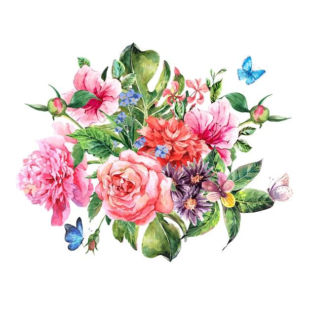 Sommerhandzeichnung aquarellblumen Premium Fotos
