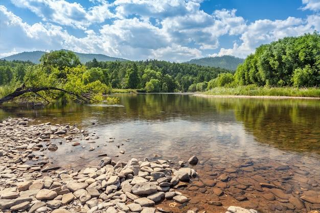 Sommernaturlandschaft mit fluss, hügeln und wald. sonniger warmer tag Premium Fotos