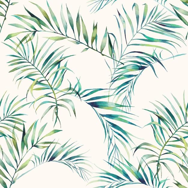 Sommerpalme und bananenblätter nahtloses muster. aquarellgrünzweige auf hellem hintergrund. hand gezeichnete exotische tapete design Premium Fotos
