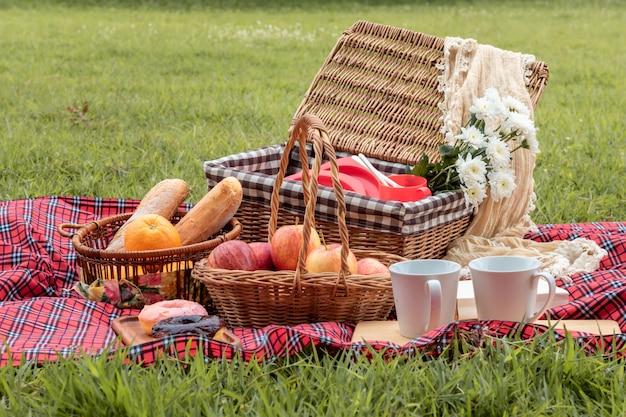 Sommerzeit. nahaufnahme des picknickkorbes mit lebensmittel und frucht in der natur. Premium Fotos