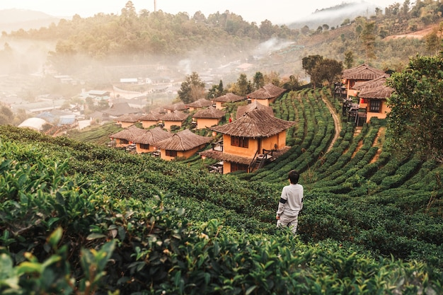 Sonnenaufgang an lee-wein rak thai, chinesische regelung, mae hong son, thailand Premium Fotos