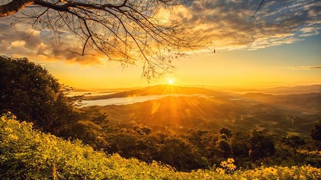 Sonnenaufgang im norden von chiang rai thailand Premium Fotos