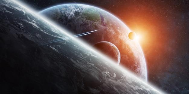 Sonnenaufgang über entferntem planetensystem im raum Premium Fotos