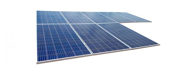 Sonnenkollektoren lokalisiert auf weißem hintergrund. solarenergiekonzept bilder. Premium Fotos