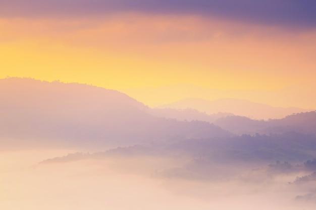 Sonnenschein und wolken auf dem morgennebel bei phu lang ka, phayao, thailand Premium Fotos