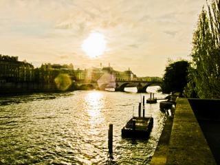 Sonnenuntergang über der seine, wasser Kostenlose Fotos