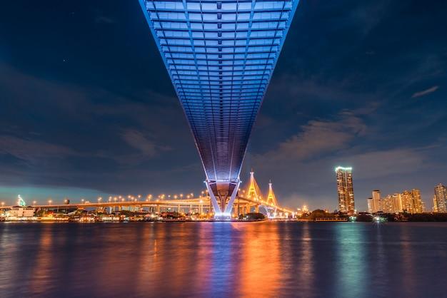 Sonnenunterganglandschaftsansicht von unterhalb der straßenbrücke Premium Fotos