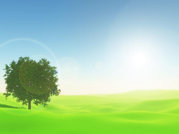 Sonnige landschaft 3d mit baum im hellgrünen gras Kostenlose Fotos