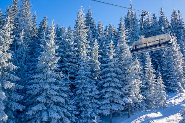 Sonniges wetter im winterwald. kabine eines sesselliftes im hintergrund der schneebedeckten tannen Premium Fotos