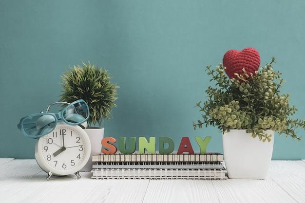 Sonntag beschriftet text und notizbuchpapier, wecker und wenig baum Premium Fotos