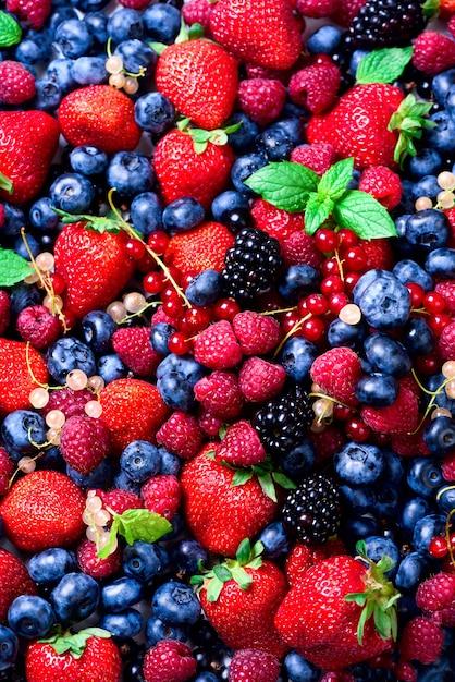 Sortiment von erdbeeren, heidelbeeren, himbeeren, brombeeren, johannisbeeren, minze. konzept des strengen vegetariers, des vegetariers und des sauberen essens Premium Fotos