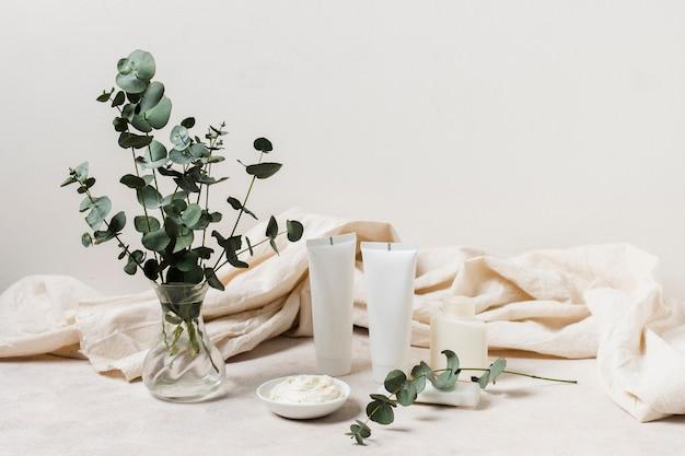 Spa-arrangement mit cremes und pflanzen Kostenlose Fotos