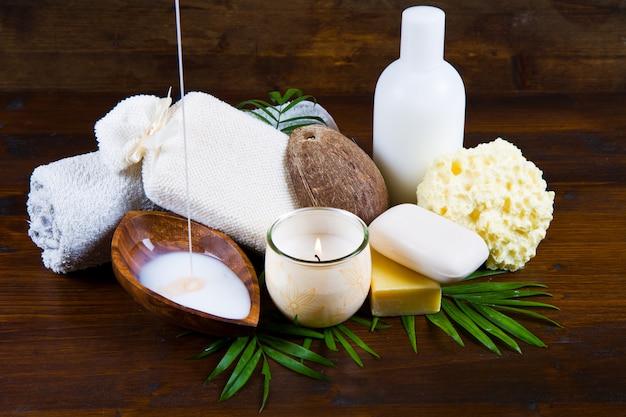 Spa kokosnussprodukte Premium Fotos