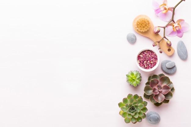 Spa mit handgemachter biokosmetik und kaktuszusammensetzung Premium Fotos