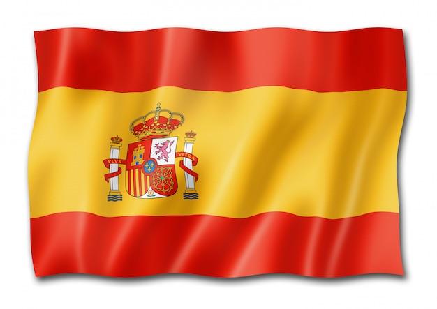 Spanische flagge, isoliert auf weiss Premium Fotos