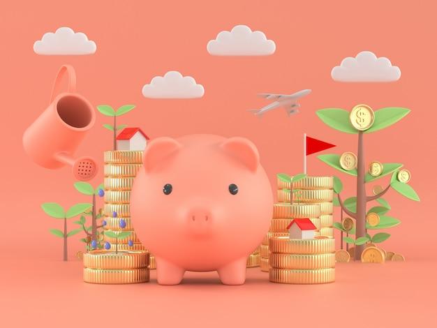 Sparschwein und baummünze pflanzen passives einkommen finanzgeldkonzept der freiheit. Premium Fotos