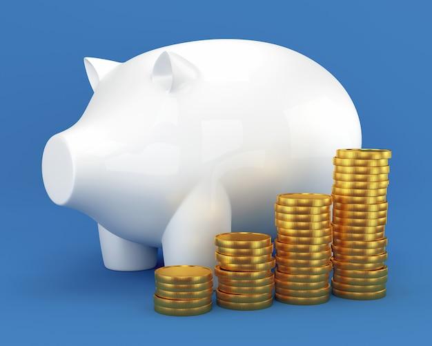 Sparschwein und gruppe münzen Premium Fotos