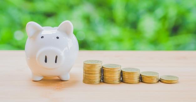 Sparschwein und stapel münzen Premium Fotos
