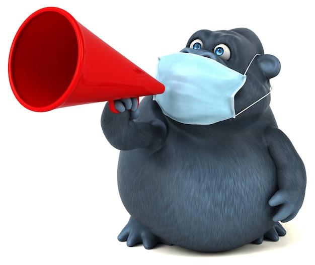Spaß cartoon gorilla mit einer maske Premium Fotos