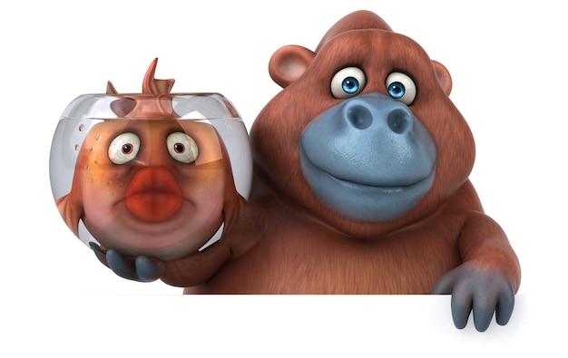 Spaß orang outan - 3d-illustration Premium Fotos