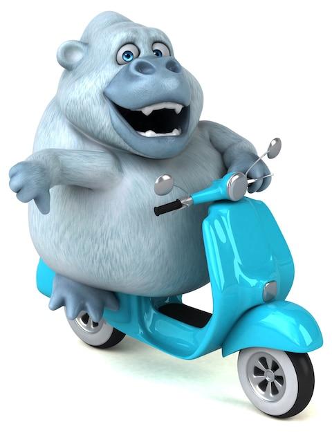 Spaß weiße gorillaillustration Premium Fotos