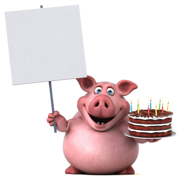 Spaßschweinillustration Premium Fotos